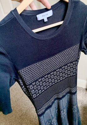 Reiss Black knit dress front