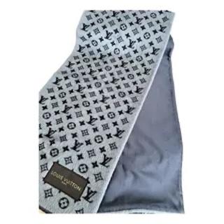 Louis Vuitton grey-wool-logomania-scarf
